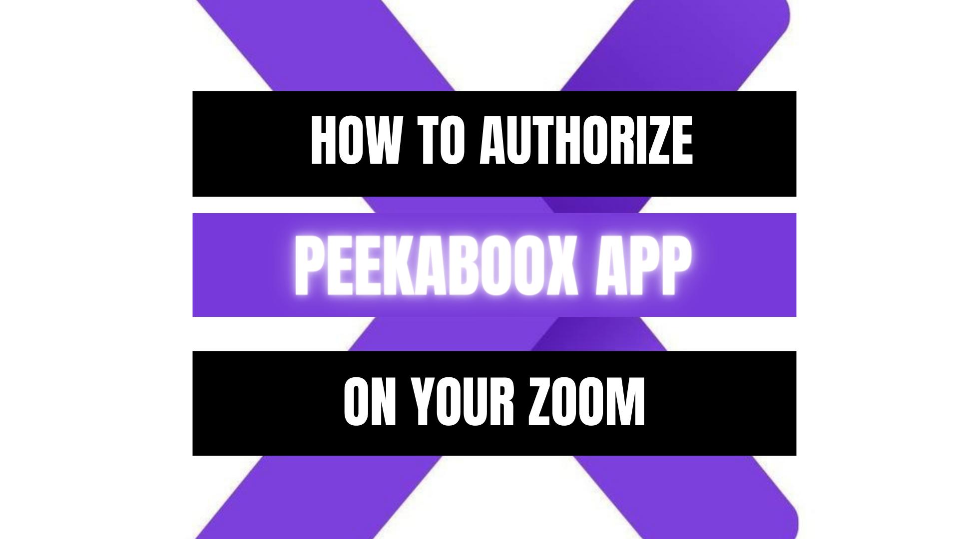 Peekaboox - Authorize Peekaboox App on Zoom