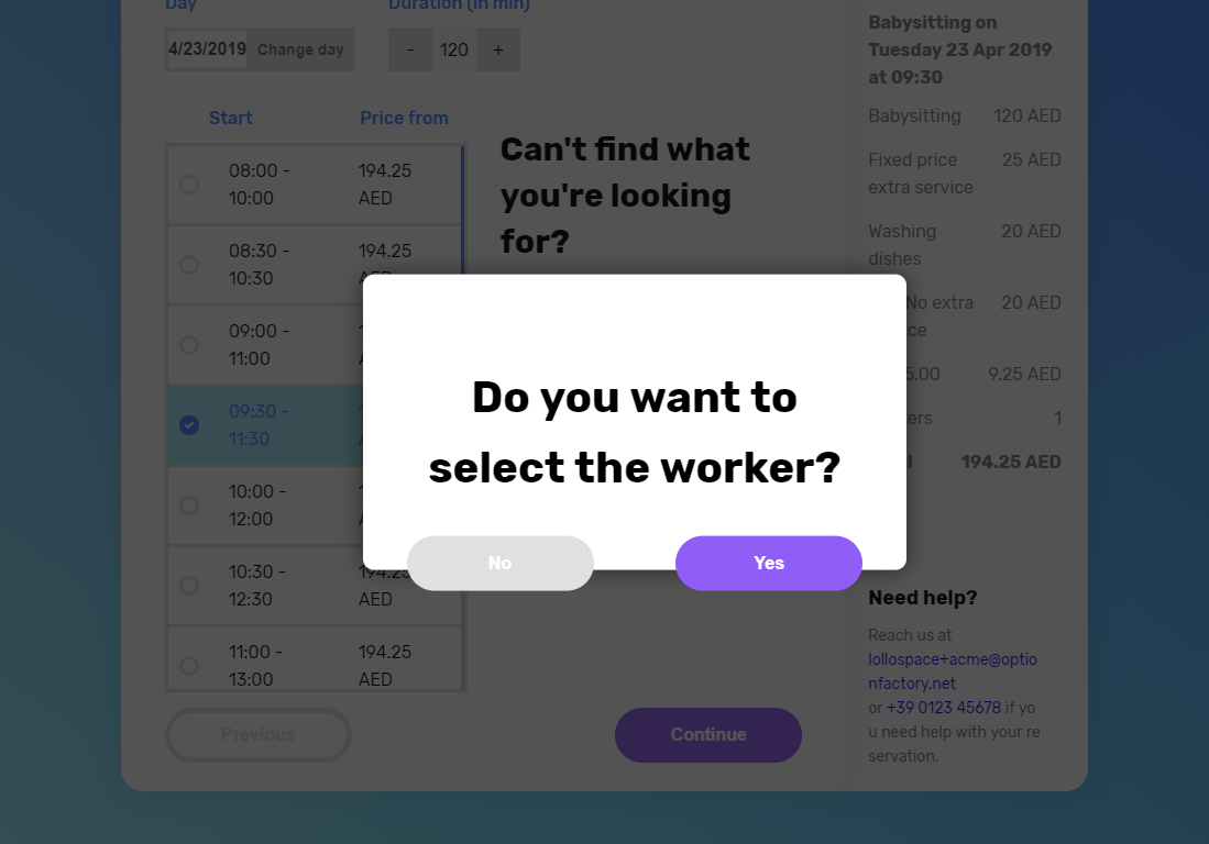 Peekaboox - Operator selection during checkout